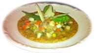Dadolata-del-contadino-su-vellutata-dell-orto-al-profumo-di-basilico e scaglie di parmigiano